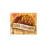 Hem Incense Cones - Clove Cinnamon - 1 Packet / 10 Cones