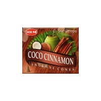 Hem Incense Cones - Coco Cinnamon - 1 Packet / 10 Cones