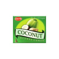 Hem Incense Cones - Coconut - 1 Packet / 10 Cones