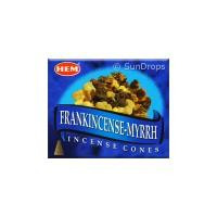 Hem Incense Cones - Frankincense Myrrh - 1 Packet / 10 Cones