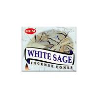 Hem Incense Cones - White Sage - 1 Packet / 10 Cones