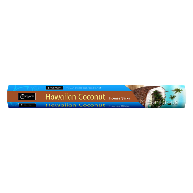 New Moon Incense Sticks - Hawaiian Coconut - 1 Packet / 20 Sticks