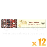 Native Soul Incense Smudge Sticks - White Sage & Dragons Blood - 15g x 12