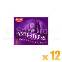 Hem Incense Cones - Anti-Stress - 12 Packets / 120 Cones