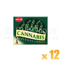 Hem Incense Cones - Cannabis - 12 Packets / 120 Cones