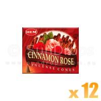 Hem Incense Cones - Cinnamon Rose - 12 Packets / 120 Cones