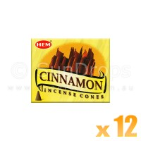 Hem Incense Cones - Cinnamon - 12 Packets / 120 Cones