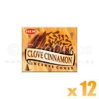 Hem Incense Cones - Clove Cinnamon - 12 Packets / 120 Cones