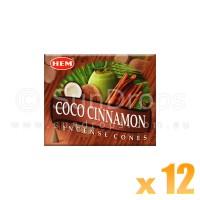 Hem Incense Cones - Coco Cinnamon - 12 Packets / 120 Cones