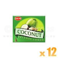 Hem Incense Cones - Coconut - 12 Packets / 120 Cones