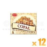 Hem Incense Cones - Copal - 12 Packets / 120 Cones