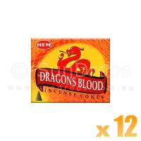 Hem Incense Cones - Dragons Blood - 12 Packets / 120 Cones