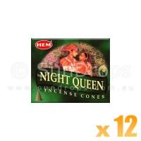 Hem Incense Cones - Night Queen - 12 Packets / 120 Cones