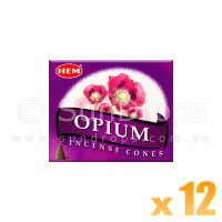 Hem Incense Cones - Opium - 12 Packets / 120 Cones