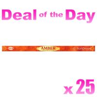 Hem Incense Sticks - Amber - 25 Packets / 200 Sticks