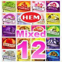 Mixed Hem Incense Cones - 12 Packets / 120 Cones